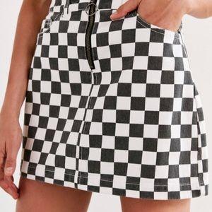 BDG Checkered Zip Skirt